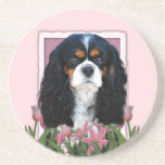 Mothers Day - Pink Tulips - Cavalier - Tri-Color Beverage Coasters