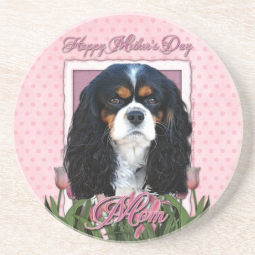 Mothers Day - Pink Tulips - Cavalier - Tri-Color Coasters