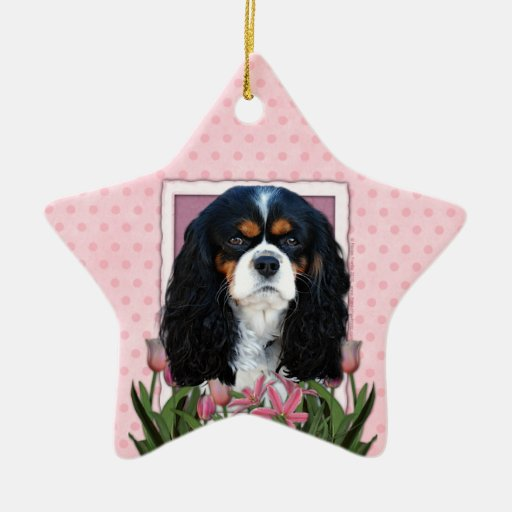 Mothers Day - Pink Tulips - Cavalier - Tri-Color Christmas Ornament