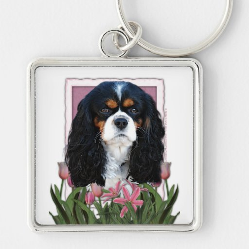 Mothers Day - Pink Tulips - Cavalier - Tri-Color Silver-Colored Square Keychain