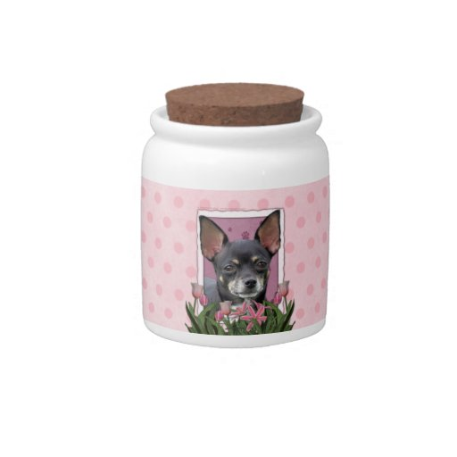 Mothers Day - Pink Tulips - Chihuahua - Isabella Candy Jars