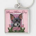Mothers Day - Pink Tulips - Chihuahua - Isabella Keychains