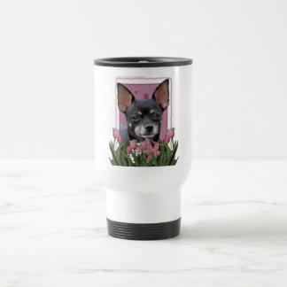 Mothers Day - Pink Tulips - Chihuahua - Isabella Travel Mug