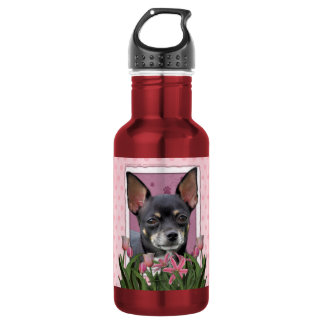Mothers Day - Pink Tulips - Chihuahua - Isabella Water Bottle
