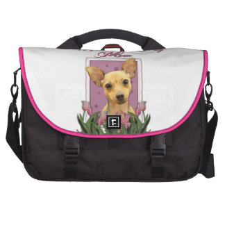 Mothers Day - Pink Tulips - Chihuahua Laptop Messenger Bag
