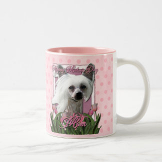 Mothers Day - Pink Tulips - Chinese Crested -Kahlo Two-Tone Coffee Mug