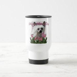 Mothers Day - Pink Tulips - Chinese Crested -Kahlo Travel Mug