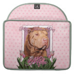 Mothers Day - Pink Tulips - Chinese Shar Pei Lucky Sleeve For MacBook Pro