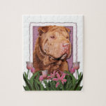 Mothers Day - Pink Tulips - Chinese Shar Pei Lucky Jigsaw Puzzle