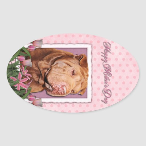 Mothers Day - Pink Tulips - Chinese Shar Pei Lucky Stickers