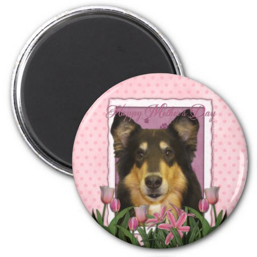 Mothers Day - Pink Tulips - Collie - Caroline Magnets