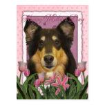 Mothers Day - Pink Tulips - Collie - Caroline Postcard