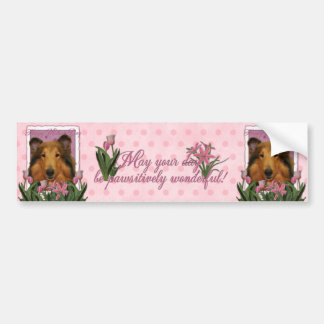 Mothers Day - Pink Tulips - Collie - Natalie Car Bumper Sticker