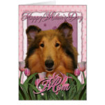Mothers Day - Pink Tulips - Collie - Natalie Greeting Cards