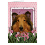 Mothers Day - Pink Tulips - Collie - Natalie Cards