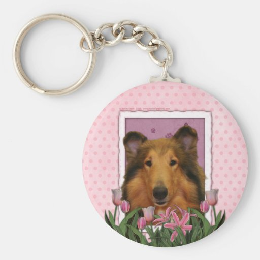 Mothers Day - Pink Tulips - Collie - Natalie Keychains