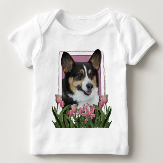 Mothers Day - Pink Tulips - Corgi Baby T-Shirt