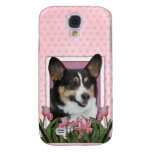 Mothers Day - Pink Tulips - Corgi Samsung Galaxy S4 Cases