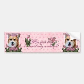 Mothers Day - Pink Tulips - Corgi - Owen Bumper Sticker