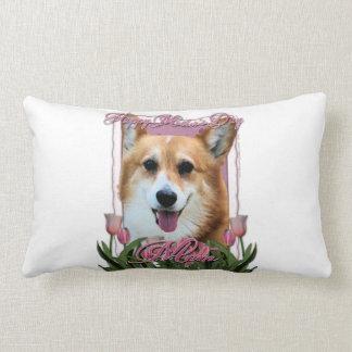 Mothers Day - Pink Tulips - Corgi - Owen Lumbar Pillow