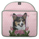 Mothers Day - Pink Tulips - Corgi - Owen Sleeves For MacBooks