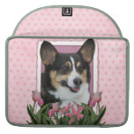 Mothers Day - Pink Tulips - Corgi - Owen Sleeve For MacBooks