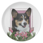 Mothers Day - Pink Tulips - Corgi - Owen Dinner Plates