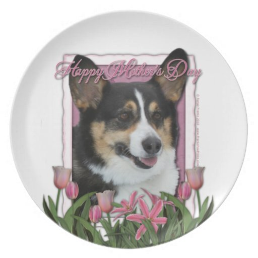 Mothers Day - Pink Tulips - Corgi - Owen Plates