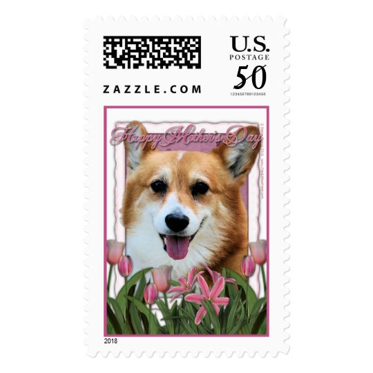 Mothers Day - Pink Tulips - Corgi - Owen Postage