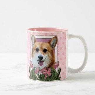Mothers Day - Pink Tulips - Corgi - Owen Two-Tone Coffee Mug
