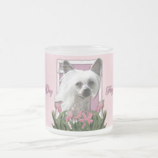 Mothers Day - Pink Tulips - Crestie - Kahlo 10 Oz Frosted Glass Coffee Mug