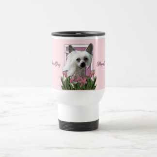 Mothers Day - Pink Tulips - Crestie - Kahlo 15 Oz Stainless Steel Travel Mug