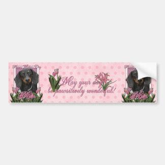 Mothers Day - Pink Tulips - Dachshund - Winston Bumper Sticker