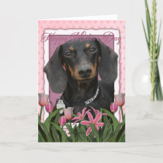 Mothers Day - Pink Tulips - Dachshund - Winston Card