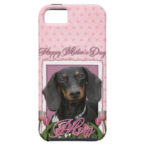 Mothers Day - Pink Tulips - Dachshund - Winston iPhone 5 Cover
