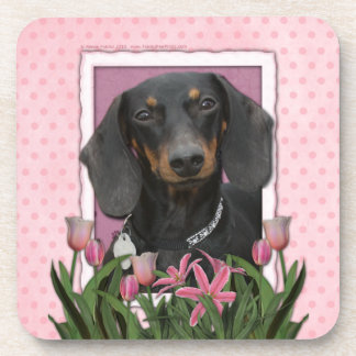 Mothers Day - Pink Tulips - Dachshund - Winston Drink Coasters