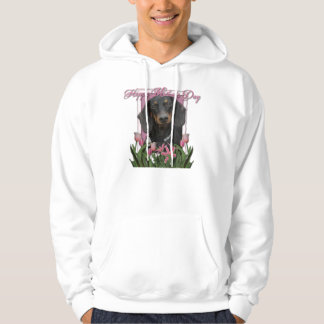 Mothers Day - Pink Tulips - Dachshund - Winston Hoodie