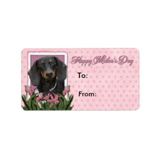 Mothers Day - Pink Tulips - Dachshund - Winston Label