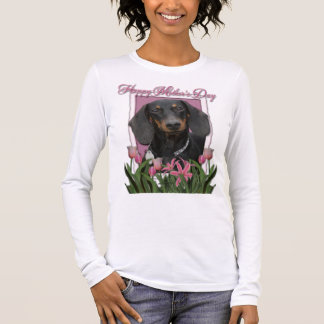 Mothers Day - Pink Tulips - Dachshund - Winston Long Sleeve T-Shirt