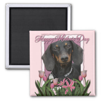 Mothers Day - Pink Tulips - Dachshund - Winston Magnet