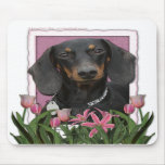 Mothers Day - Pink Tulips - Dachshund - Winston Mousepads