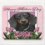 Mothers Day - Pink Tulips - Dachshund - Winston Mouse Pads