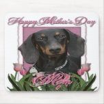 Mothers Day - Pink Tulips - Dachshund - Winston Mouse Pad