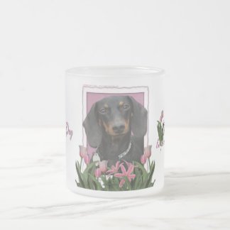 Mothers Day - Pink Tulips - Dachshund - Winston 10 Oz Frosted Glass Coffee Mug