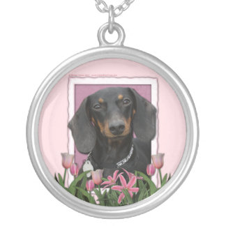 Mothers Day - Pink Tulips - Dachshund - Winston Silver Plated Necklace