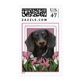 Mothers Day - Pink Tulips - Dachshund - Winston Stamp