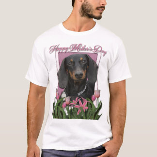 Mothers Day - Pink Tulips - Dachshund - Winston T-Shirt