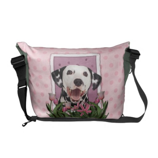 Mothers Day - Pink Tulips - Dalmatian Commuter Bags