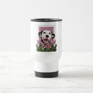 Mothers Day - Pink Tulips - Dalmatian Travel Mug
