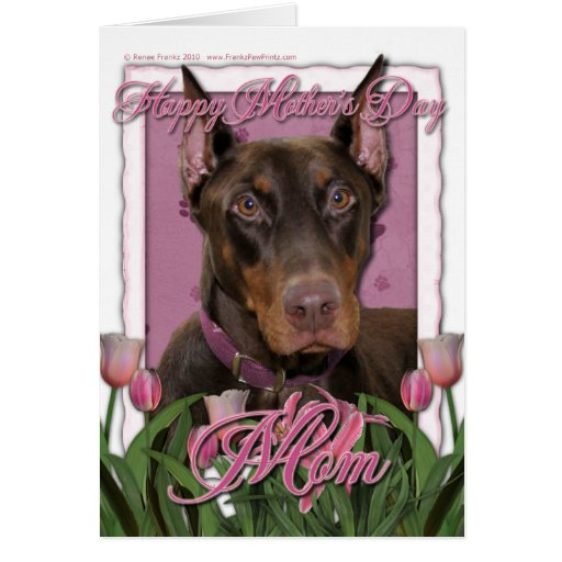Mothers Day - Pink Tulips - Doberman - Red - Rocky Cards